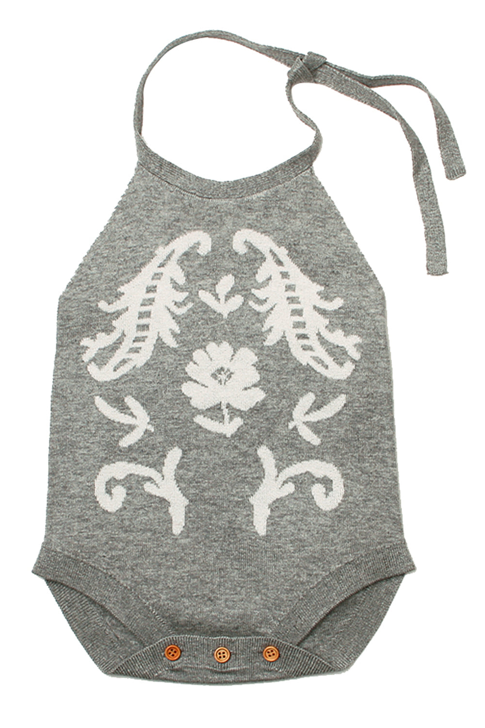 Grey Childish Flower Knit Hater Infant Bodysuit