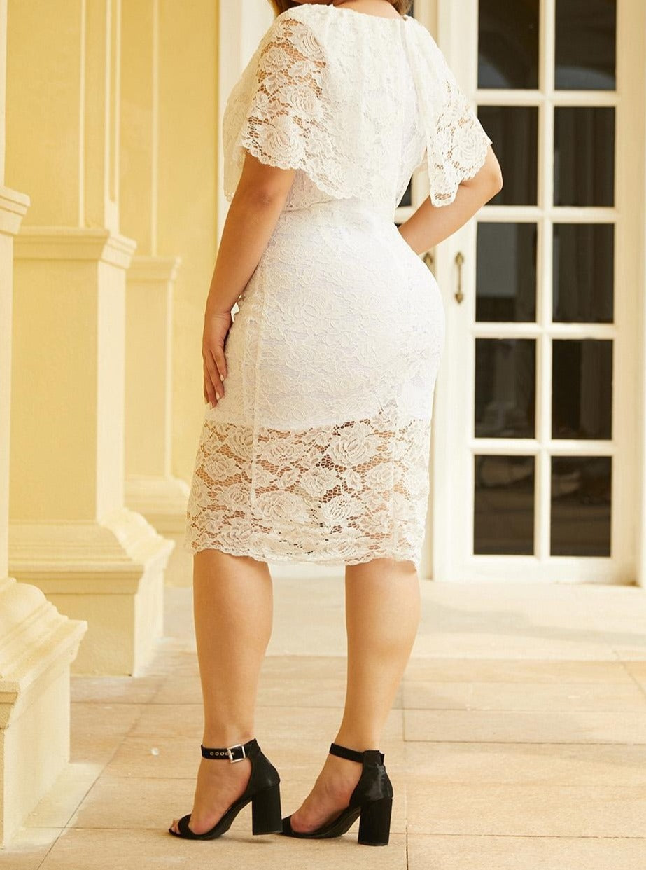 White Plus Size Lace Overlay Dress