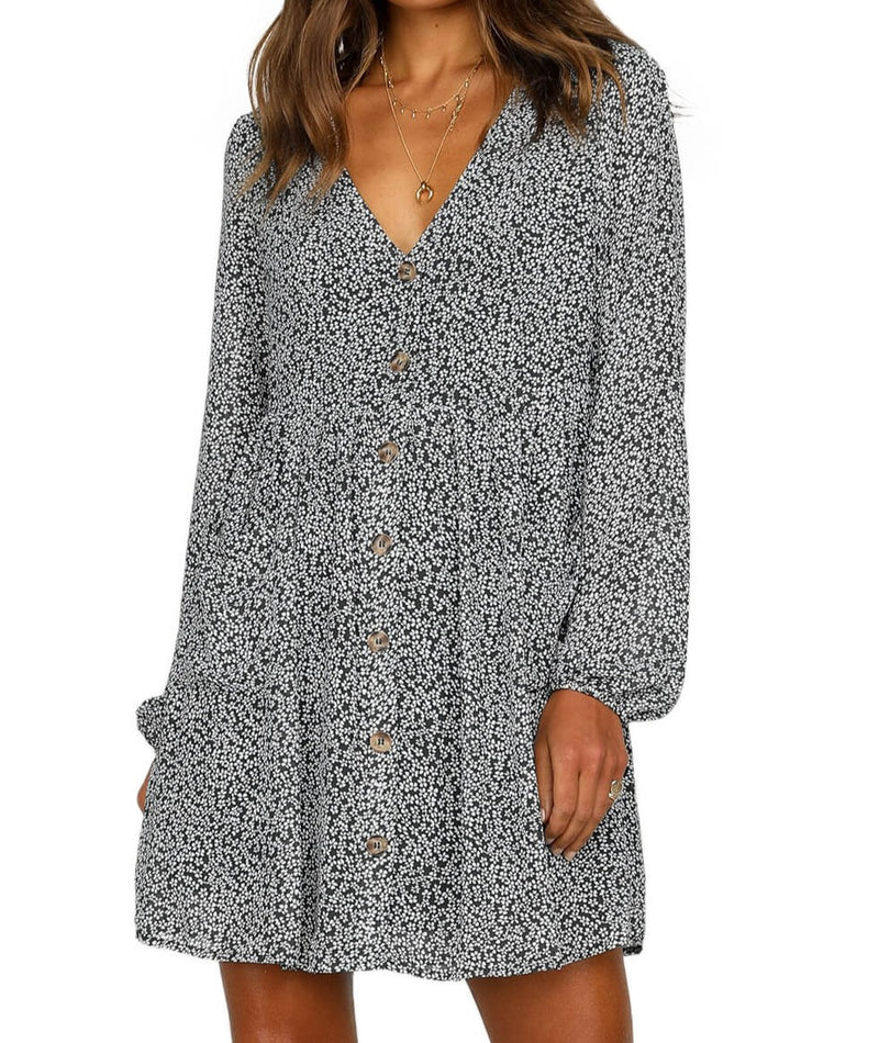 Black Printed V Neck Buttoned Long Sleeve Shirt Dress