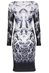Body Flattering Long-sleeve Print Dress