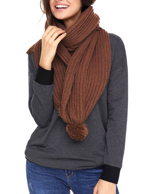 Brown Pom Pom Ribbed Knit Scarf