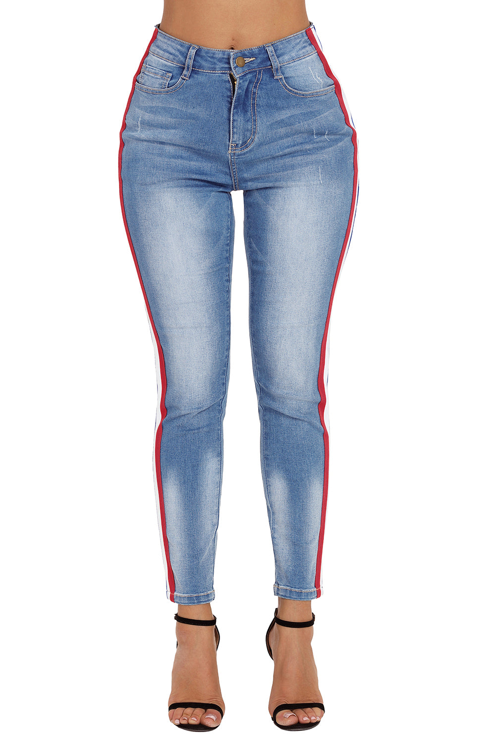 Rainbow Racer Striped Blue Skinny Jeans