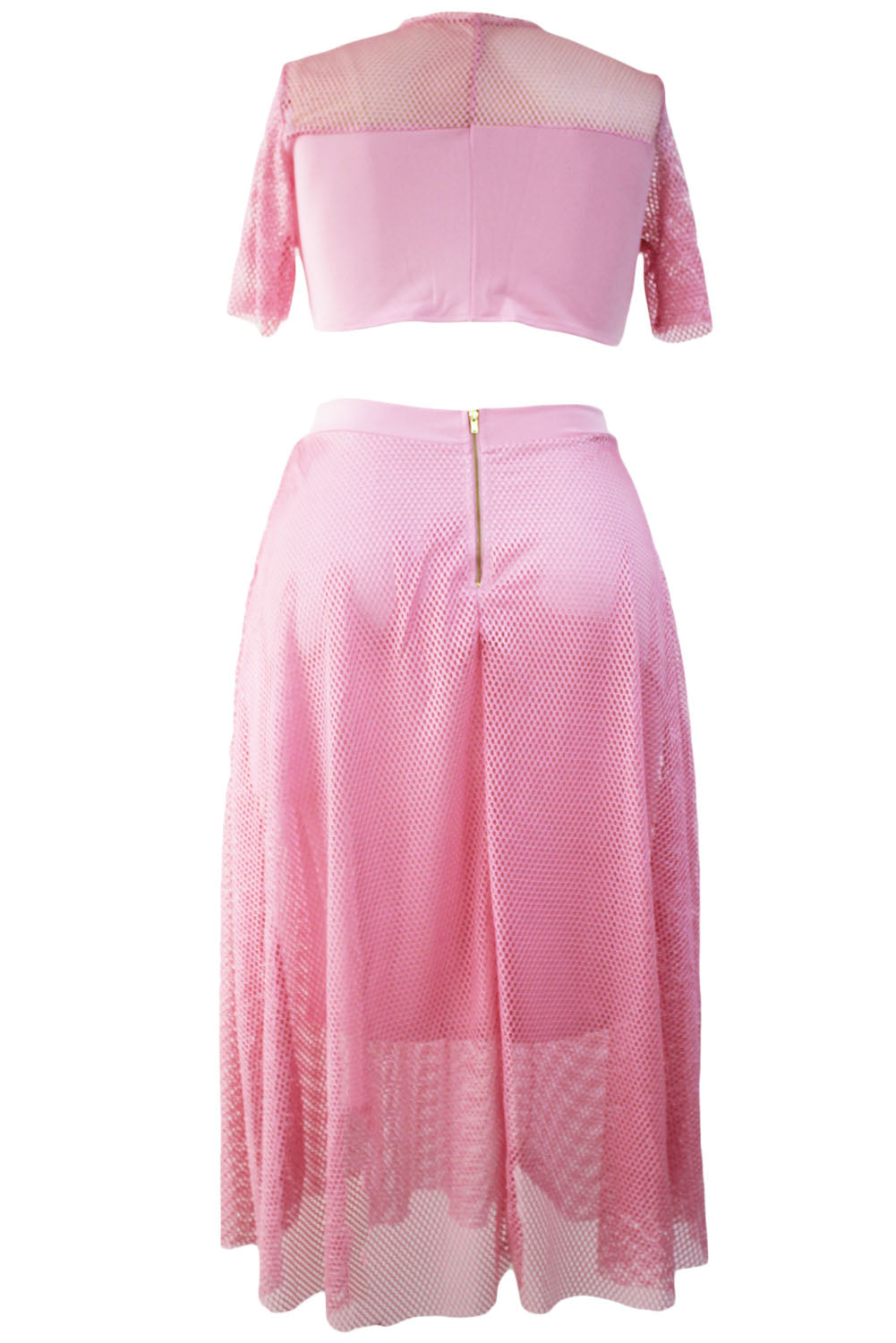 Pink Mesh Joint Plus Crop Top Skirt Set