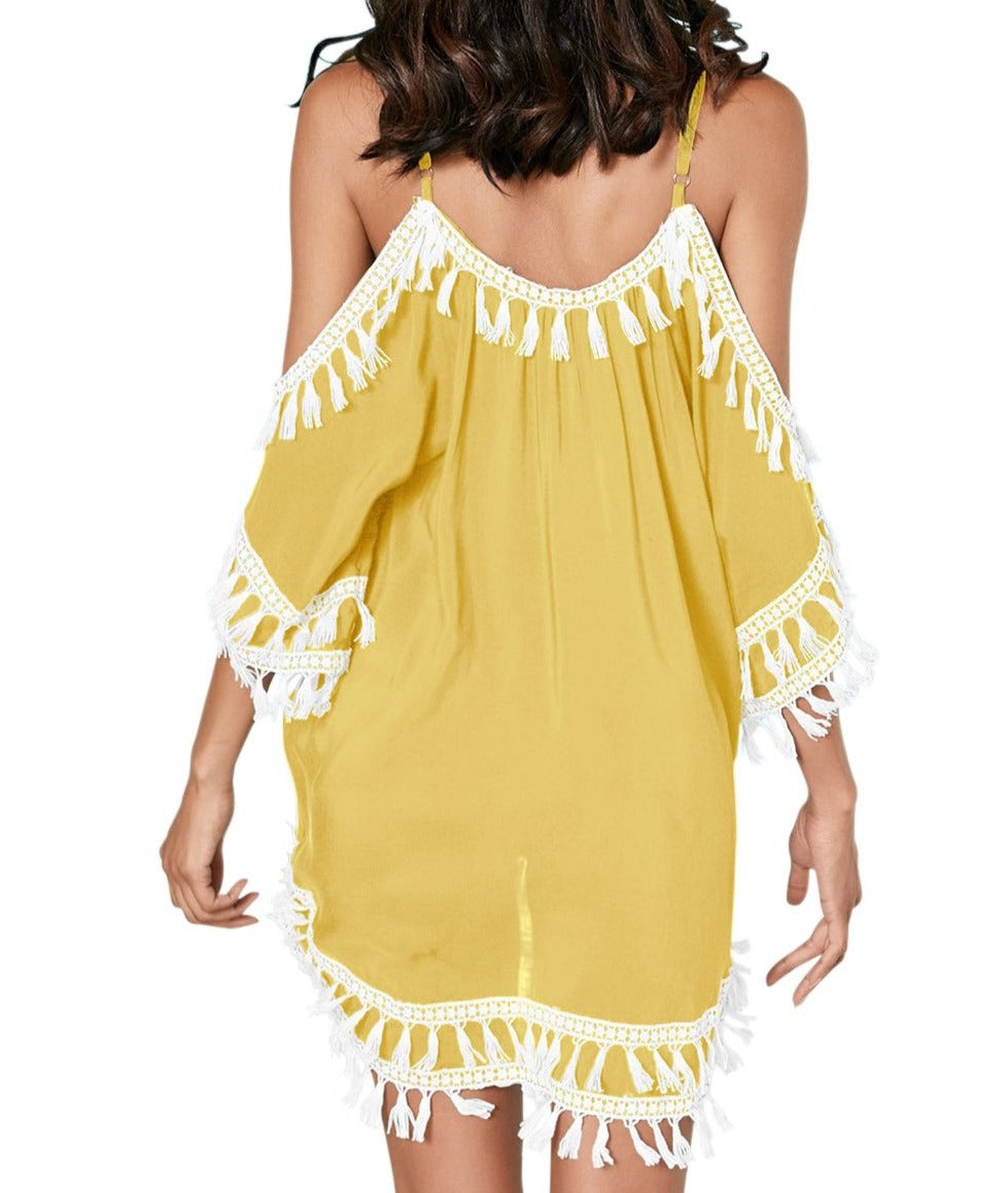 Yellow Boho Tassel Tunic Cover up