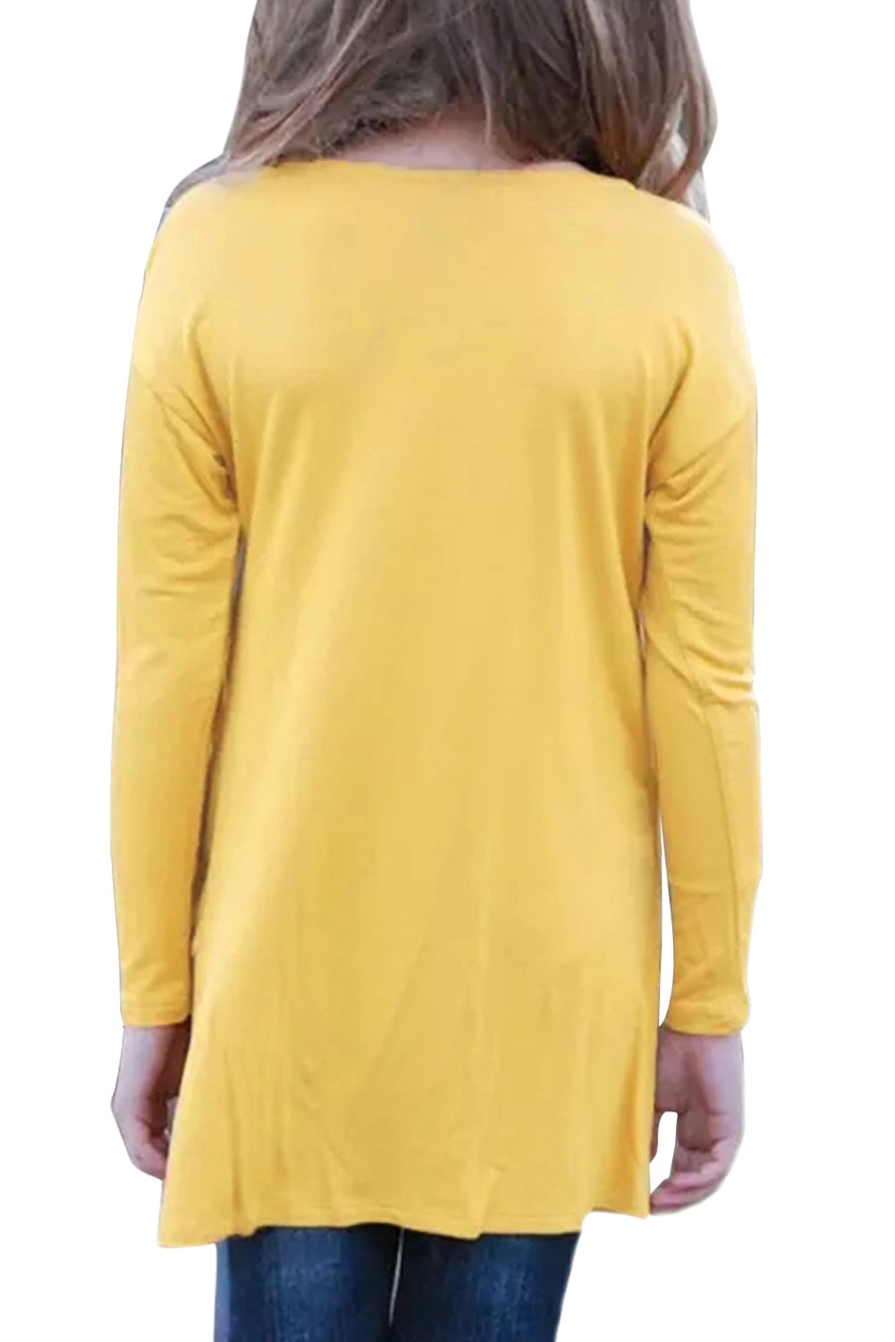 Mustard Twist Knot Detail Long Sleeve Girl's Top