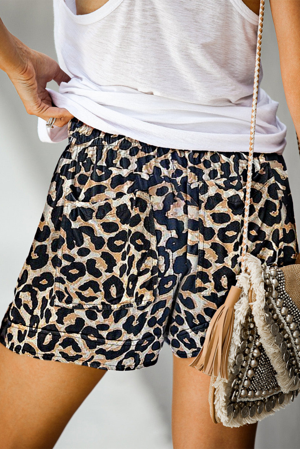 Leopard Print Drawstring Casual Elastic Waist Pocketed Shorts