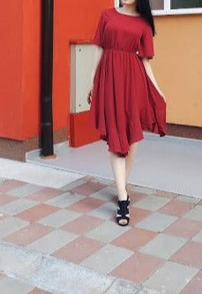 Red Chiffon Irregular Hem Short Sleeve Pleated Dress