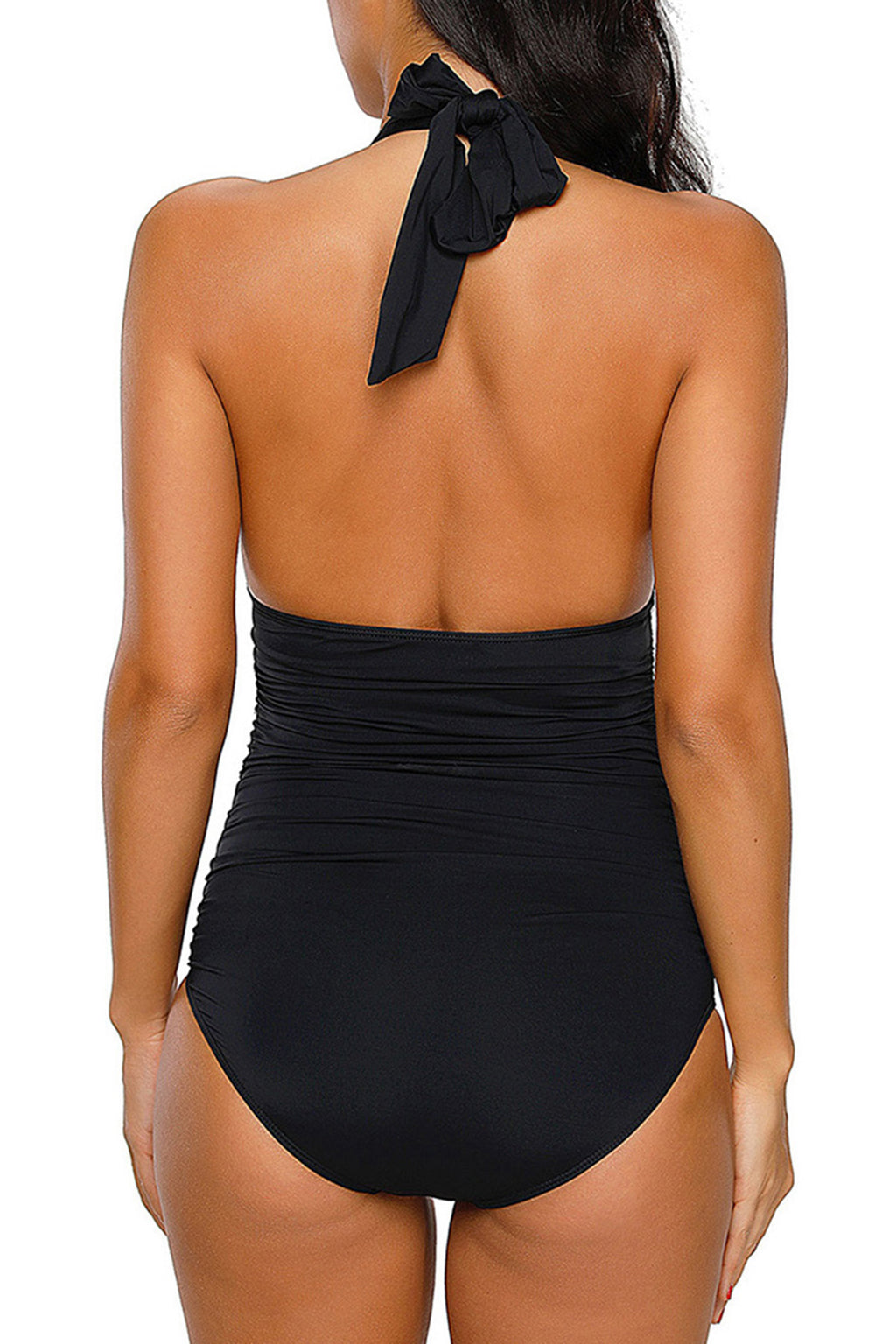 Black High Neck Halter One Piece Swimsuit