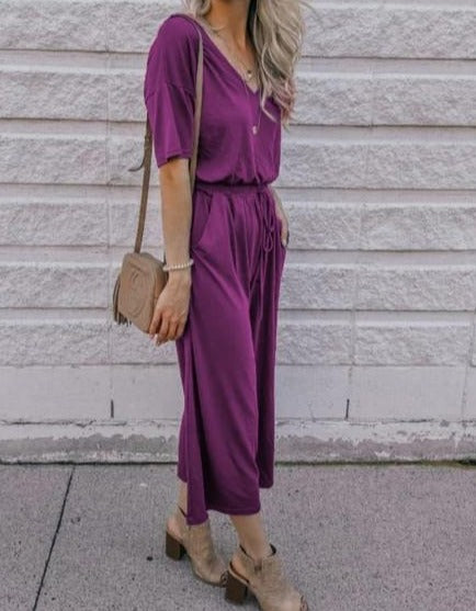 Violet V Neck Pocket String-tied Jumpsuit