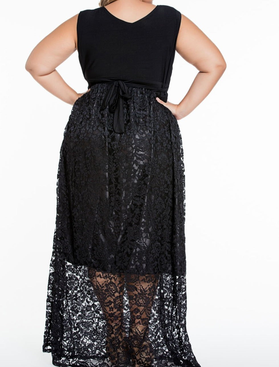 Sexy V Neck Floral Lace Maxi Skirt Plus Dress