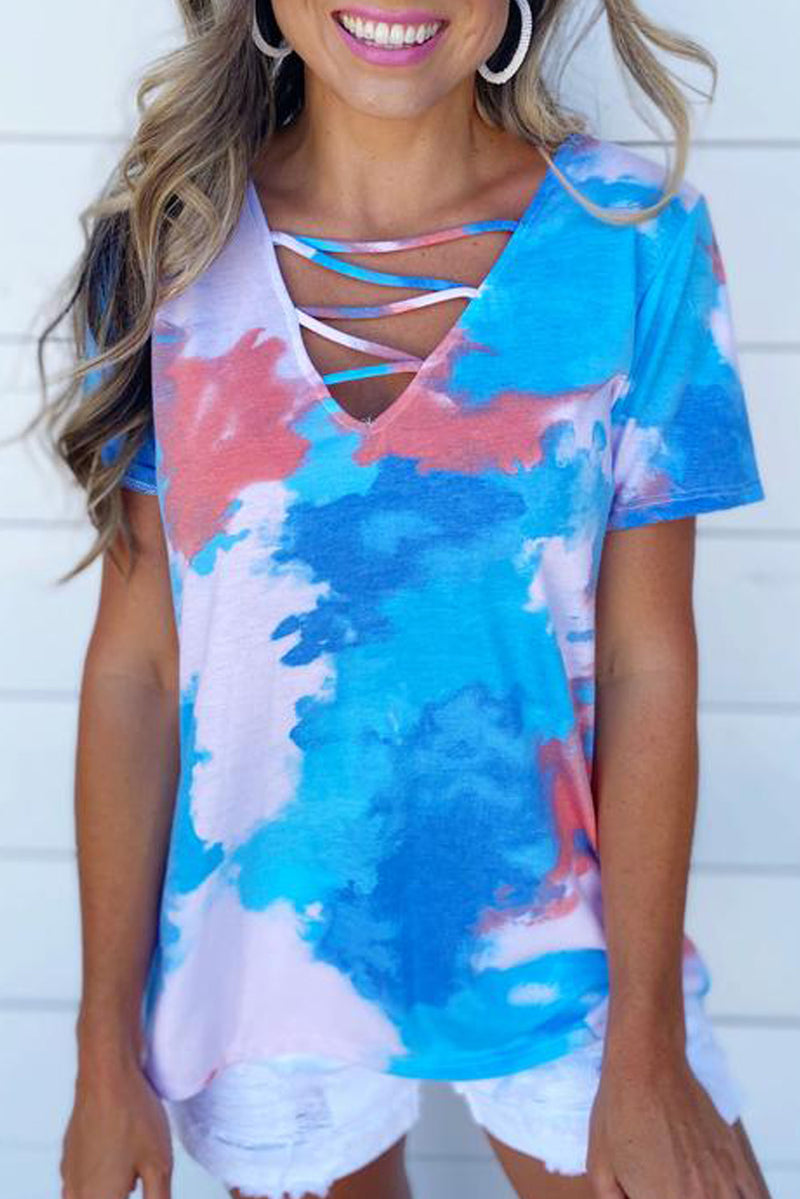 Sky Blue Cage Detail Tye Dye Top