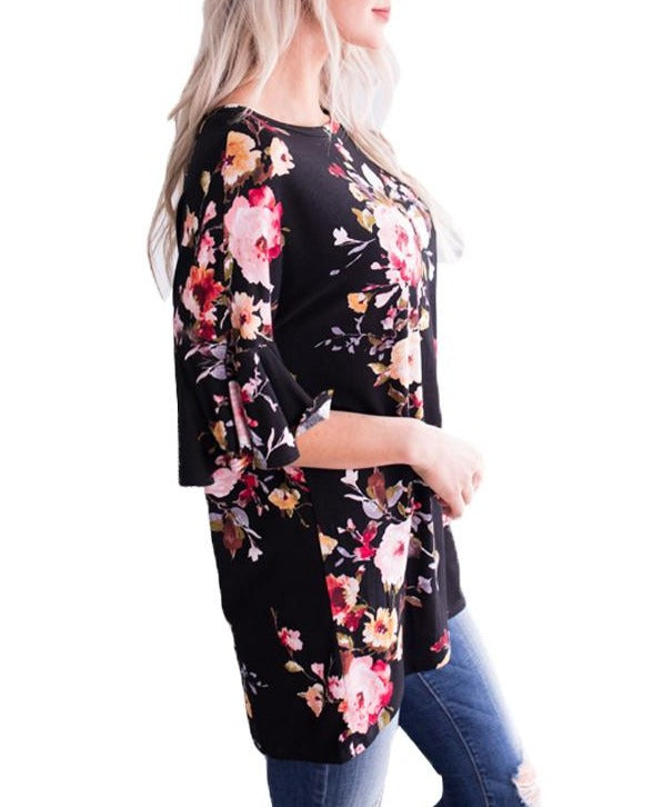 Mid Length Bell Sleeve Black Pink Floral Blouse