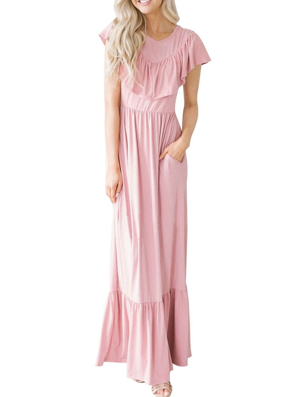 Pink Ruffle Detail Soft Jersey Maxi Dress