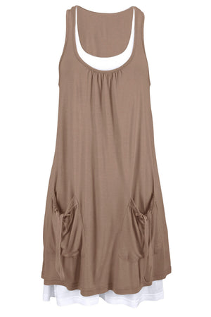 Taupe Lace-Up Pockets Sleeveless Shirt Dress