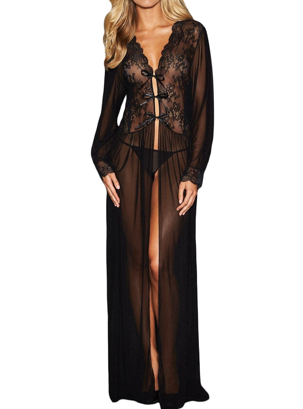 Sheer Long Sleeve Lace Robe with Thong