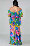 Plus Size Tropical Palms Mermaid Dress