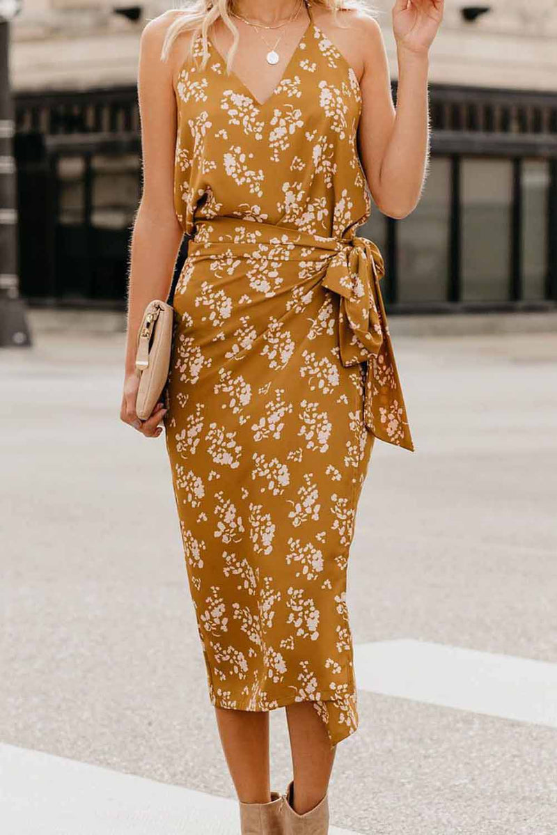 Yellow Floral Wrap Midi Dress