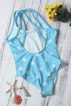 Duplicate Straps Stars Print Blue Maillot for Kid Girls