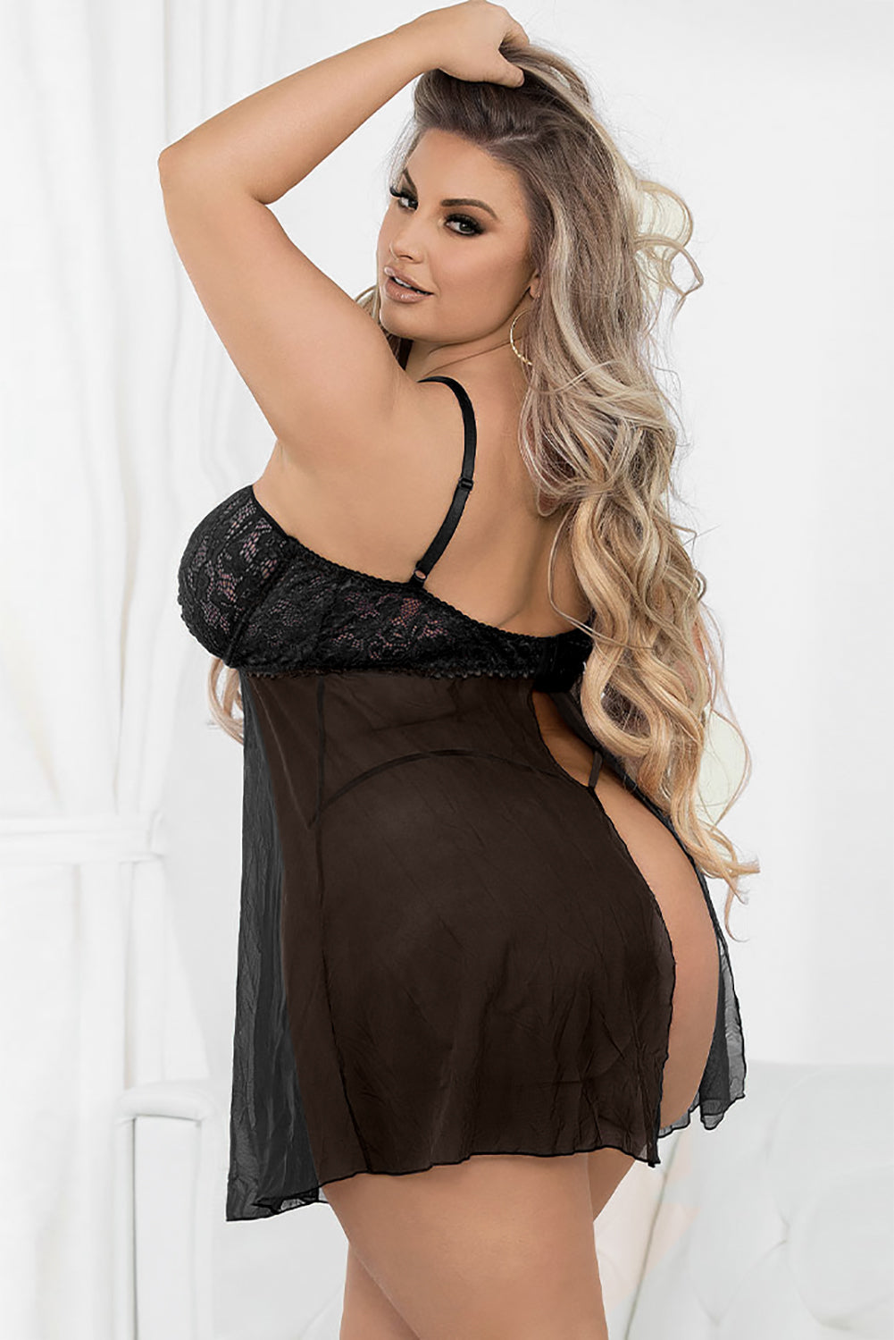 Black Plus Size Hollow-out Flyaway Babydoll with Thong