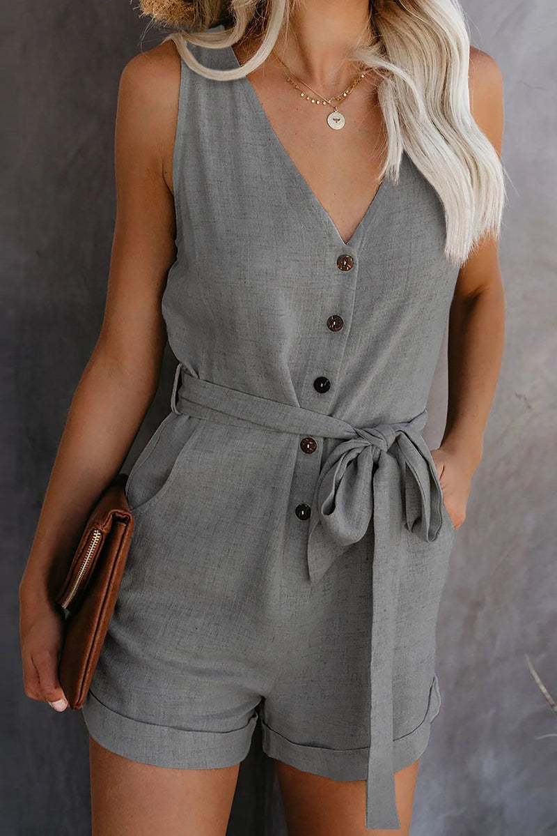 Gray Button V Neck Romper with Belt