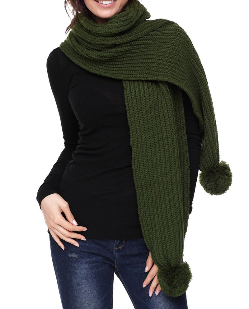 Green Pom Pom Ribbed Knit Scarf