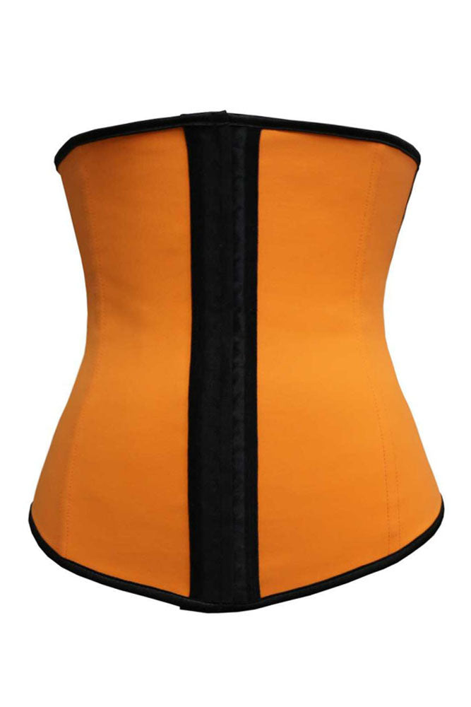 Orange 4 Steel Bones Latex Under Bust Corset