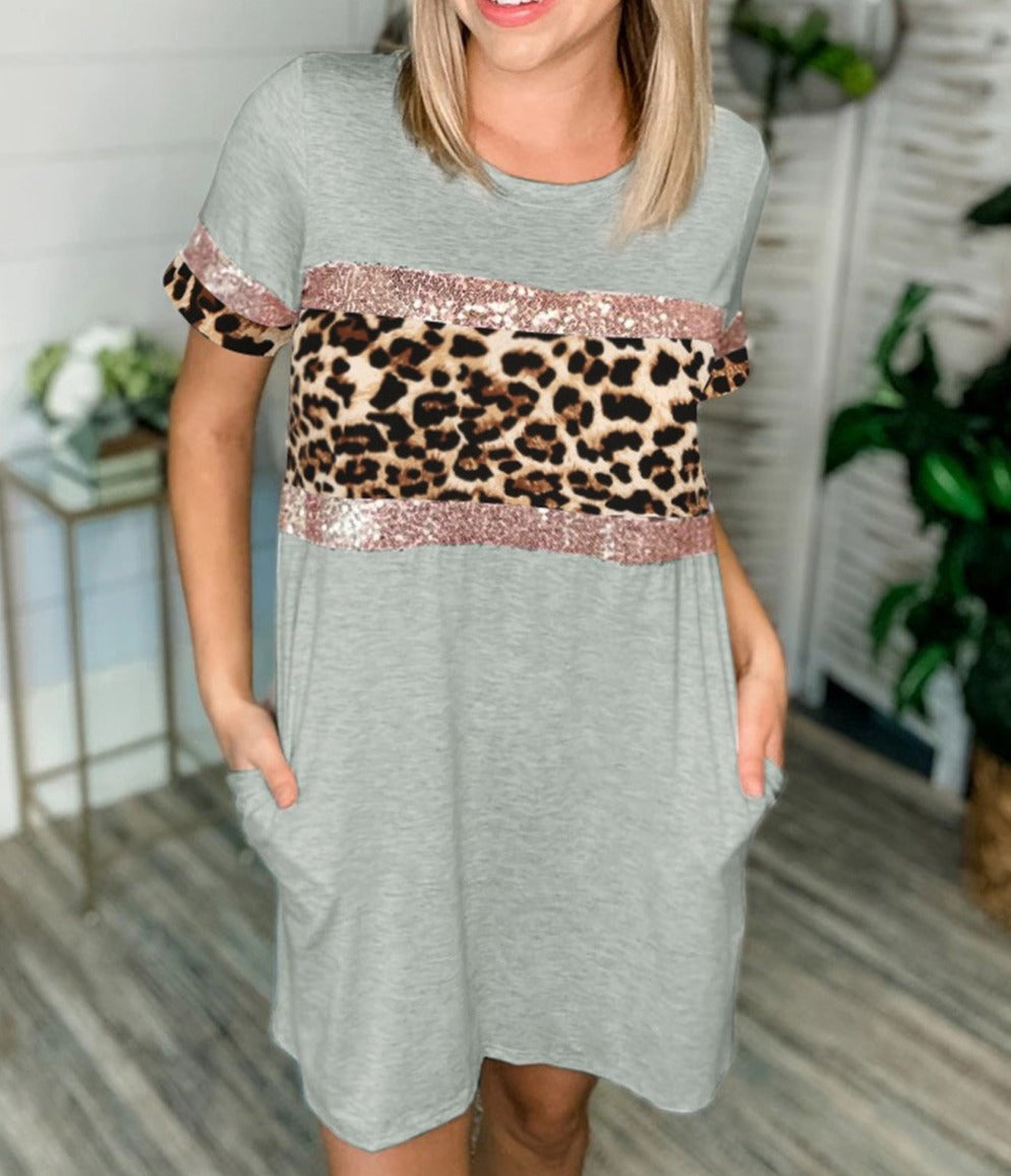 Sequin Leopard Print Knit Dress