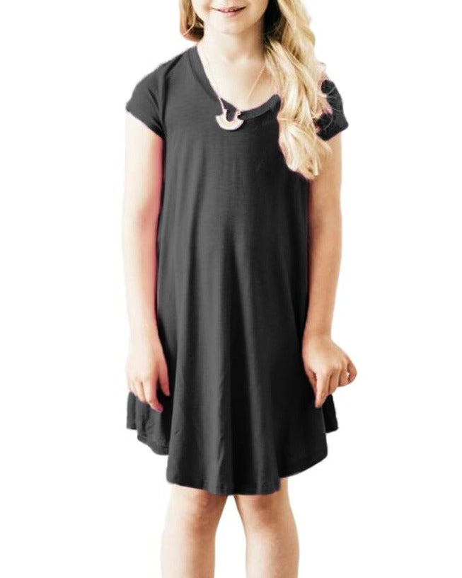 Black Cap Sleeve Tunic Dress for Little Girls