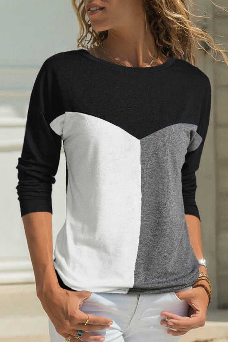 Black Color Block Splicing O-Neck Blouse