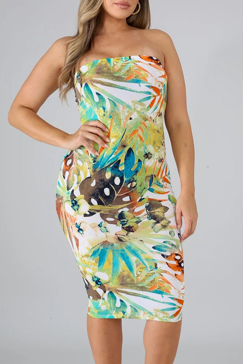 Yellow Tropical Print Tube Bodycon Dress