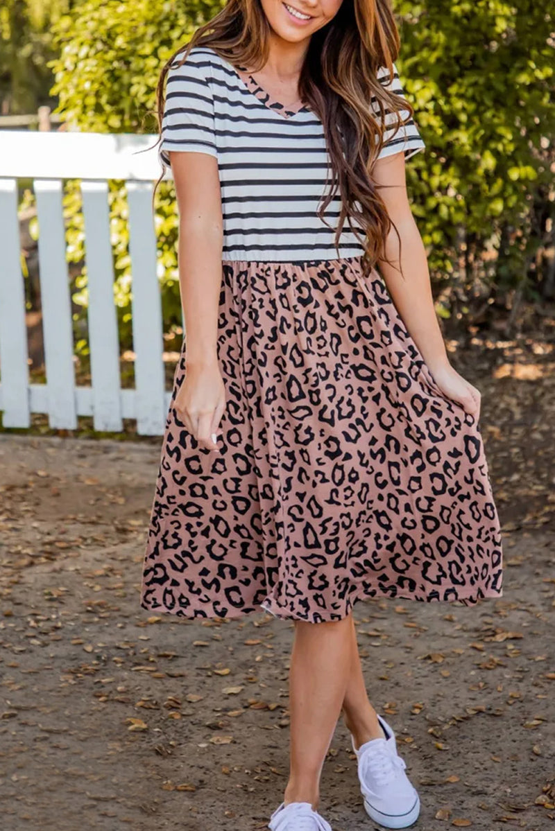 Striped Brown Leopard Print Swing Dress