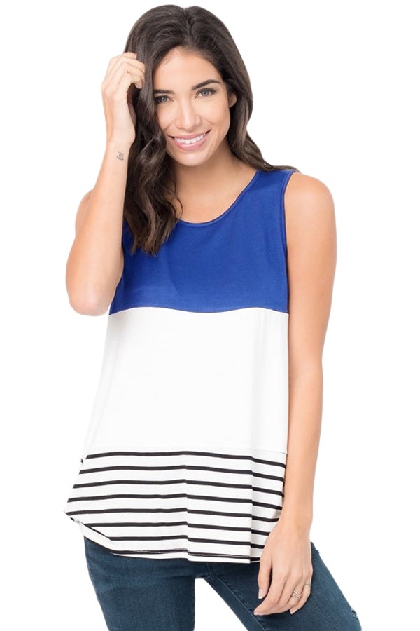 Navy Paneled Striped Racerback Tank Top