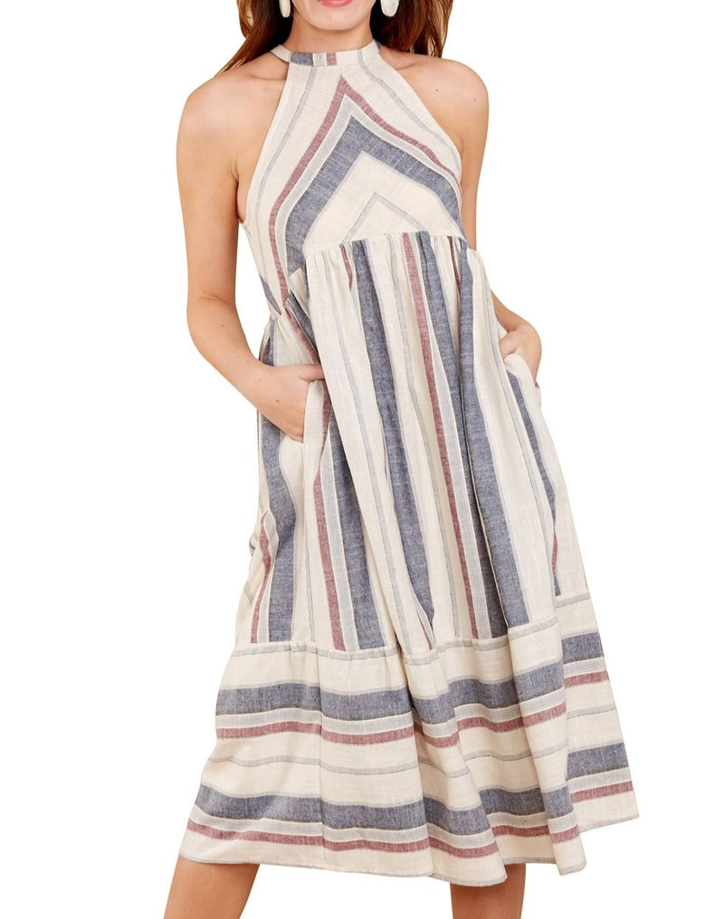 White Striped Bohemian Fashion Midi Dress