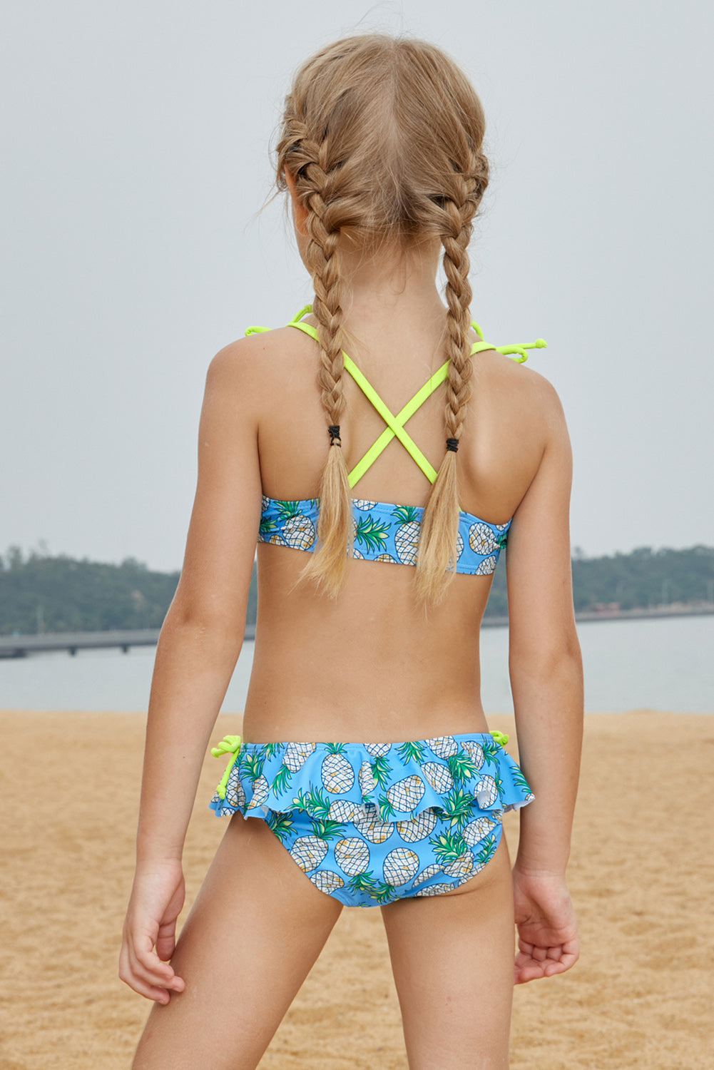 Pineapple Print Little Girls Bikini with Shoulder Straps