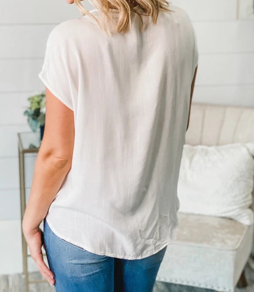 White V Neck Lace Patchwork Tee with Knot