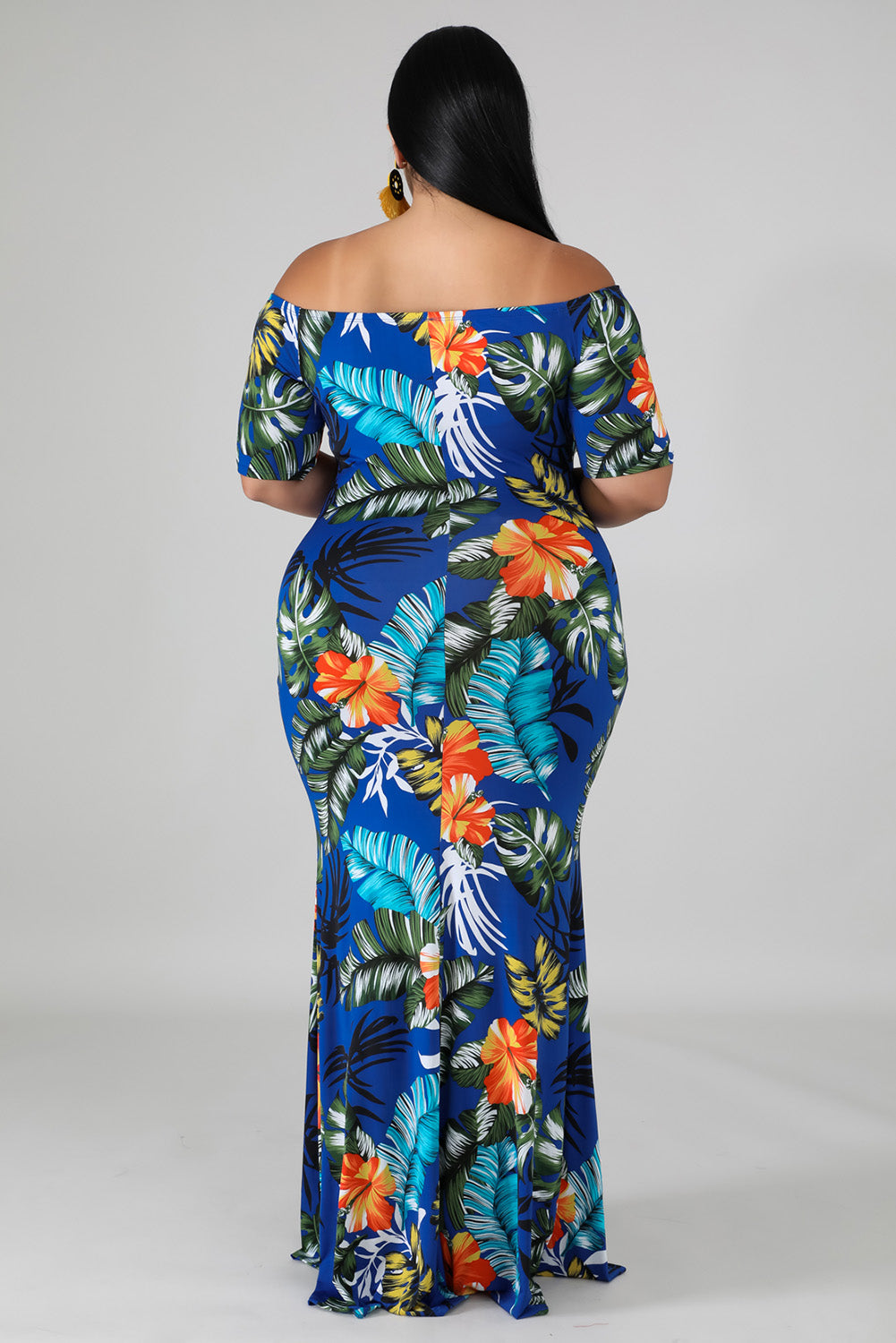 Green Off-the-shoulder Floral Print Plus Size Maxi Dress