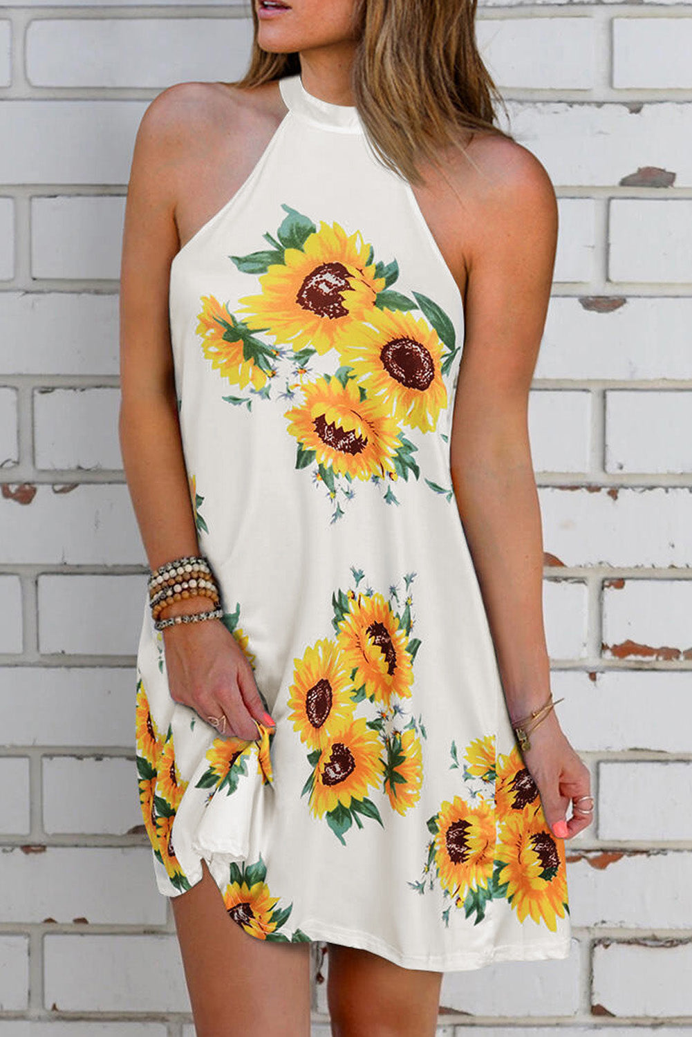 Sunflower Halter Casual Mini Dress
