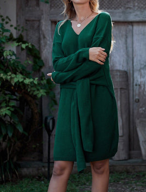 Green Don't Let Me Go Tie Sweater Dress