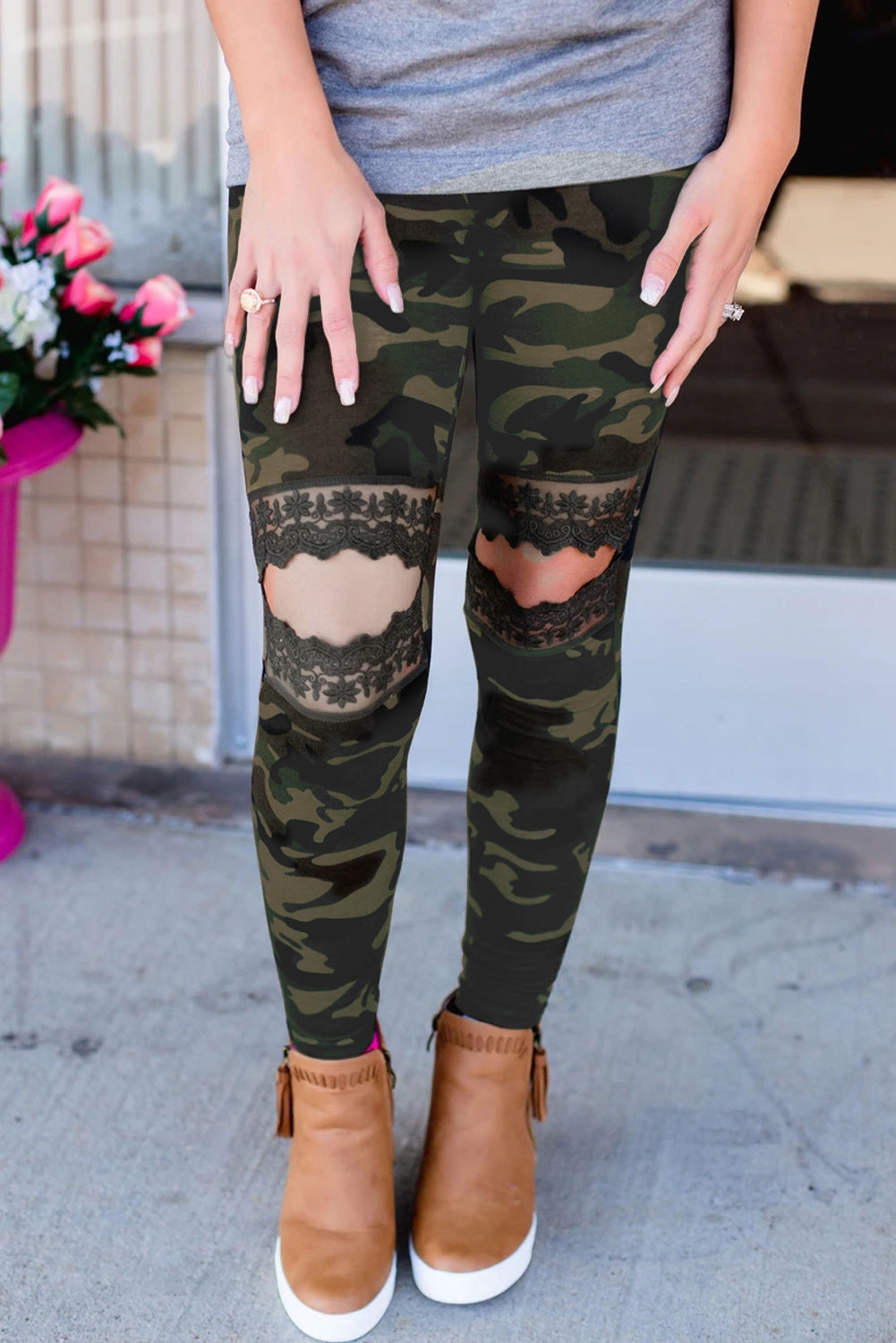 Floral Hollow Out Camo Printed Skinny Leggings