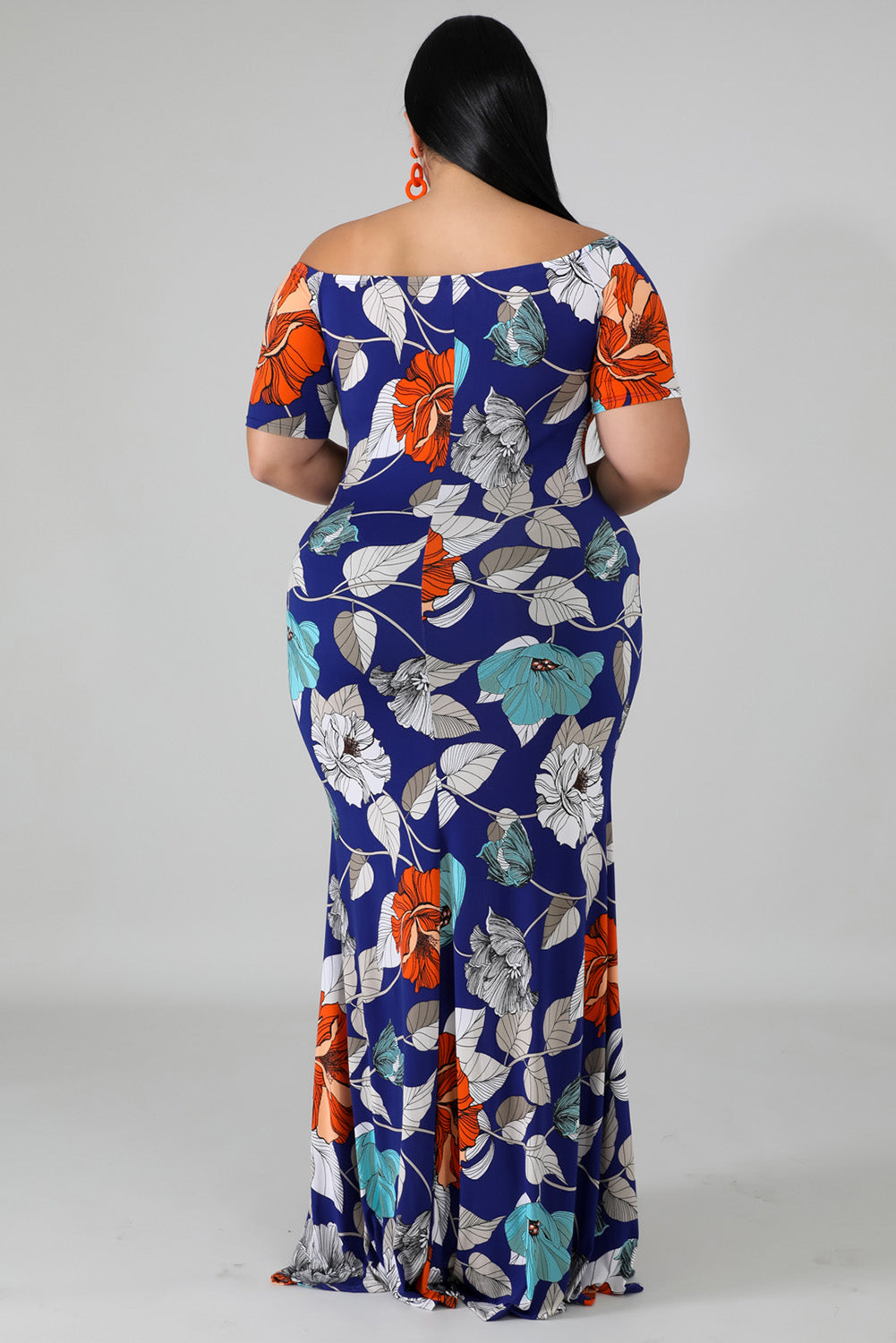 Blue Off-the-shoulder Floral Print Plus Size Maxi Dress