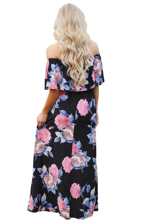 Flower Print Black Grounding Off Shoulder Long Boho Dress