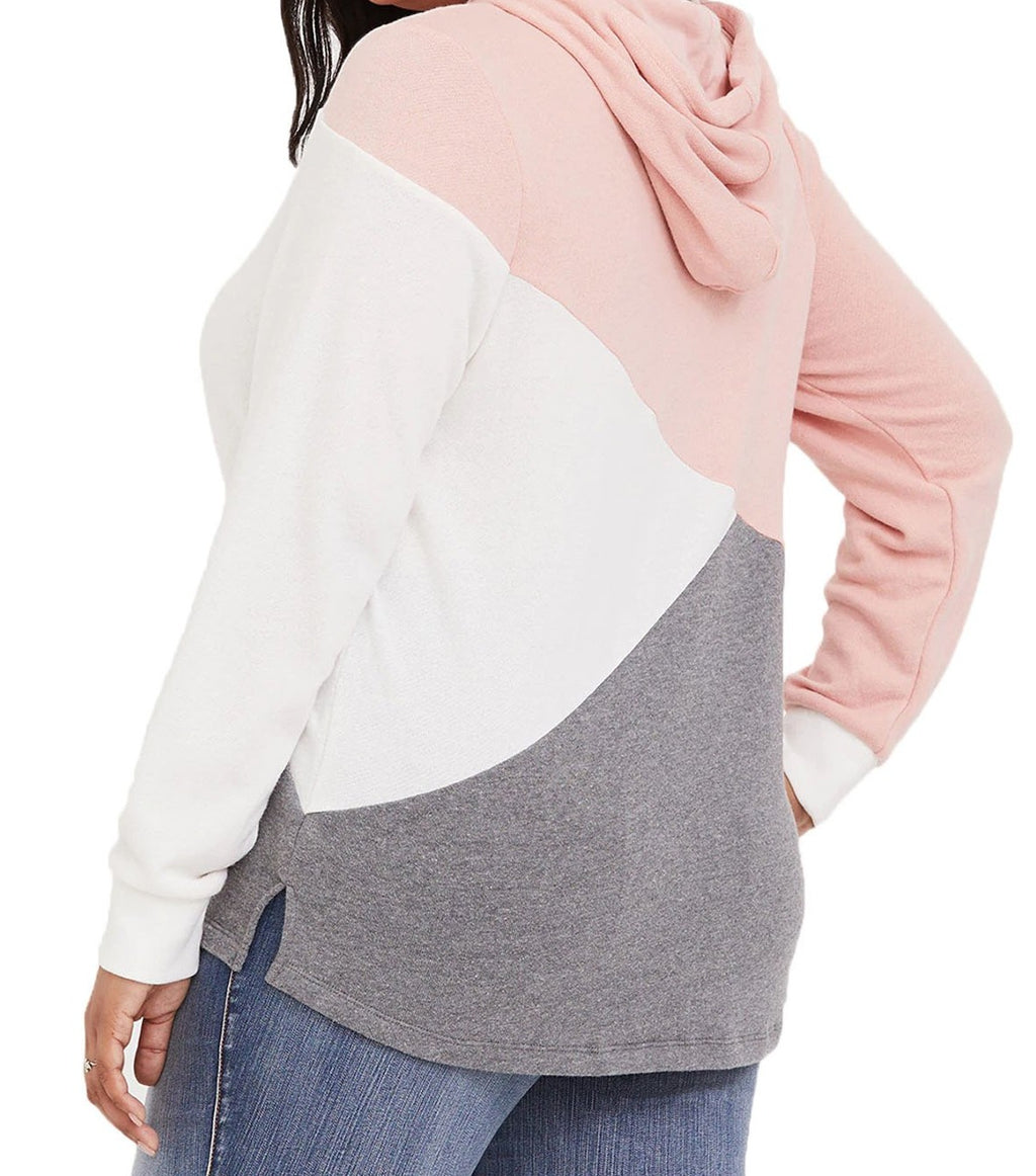 Pink Hooded Tricolor Blocked Plus Size Top
