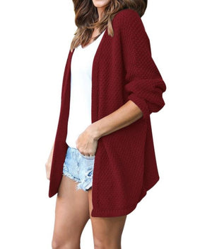 Wine Windy Morning Waffle Cardigan