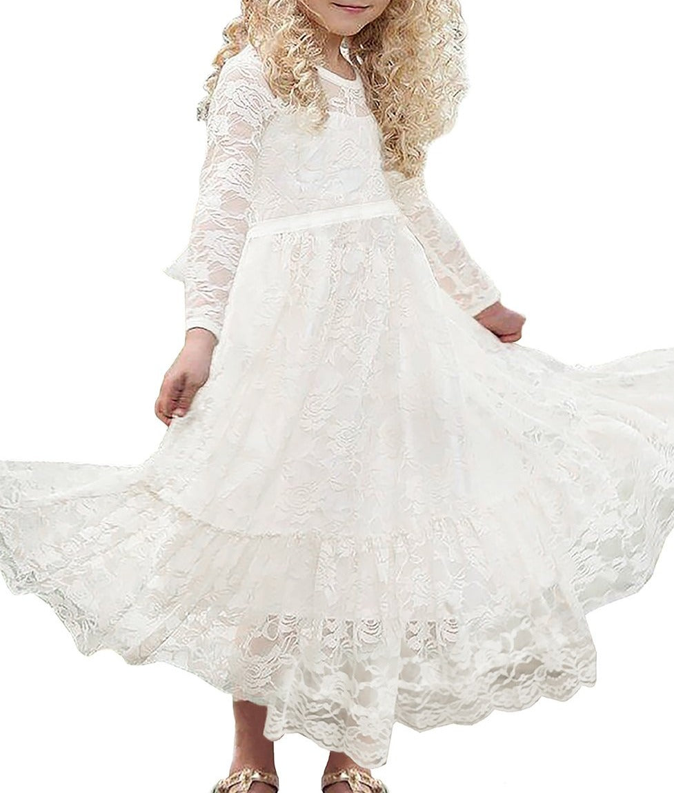 Creamy Floral Lace Flower Girl Maxi Dress