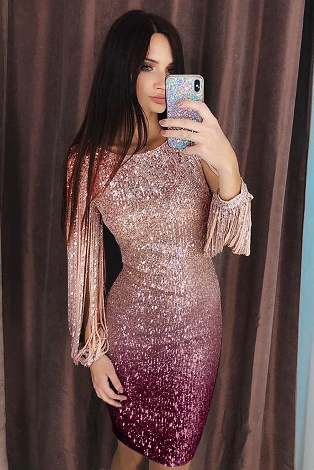 Apricot Ombre Sequin Tassel Sleeve Bodycon Evening Dress