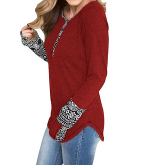 Red Women's Floral Printed Casual Flare Tunic Tops