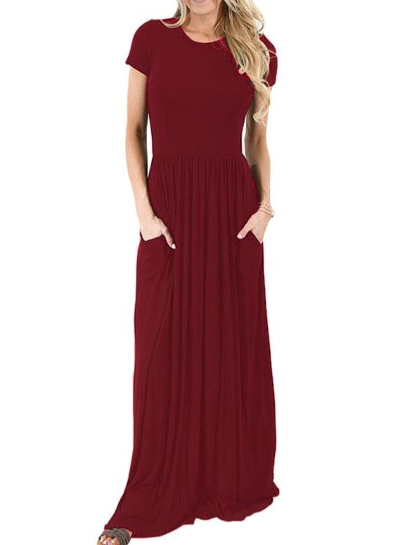Wine Short Sleeve Ruched Waist Maxi Dress