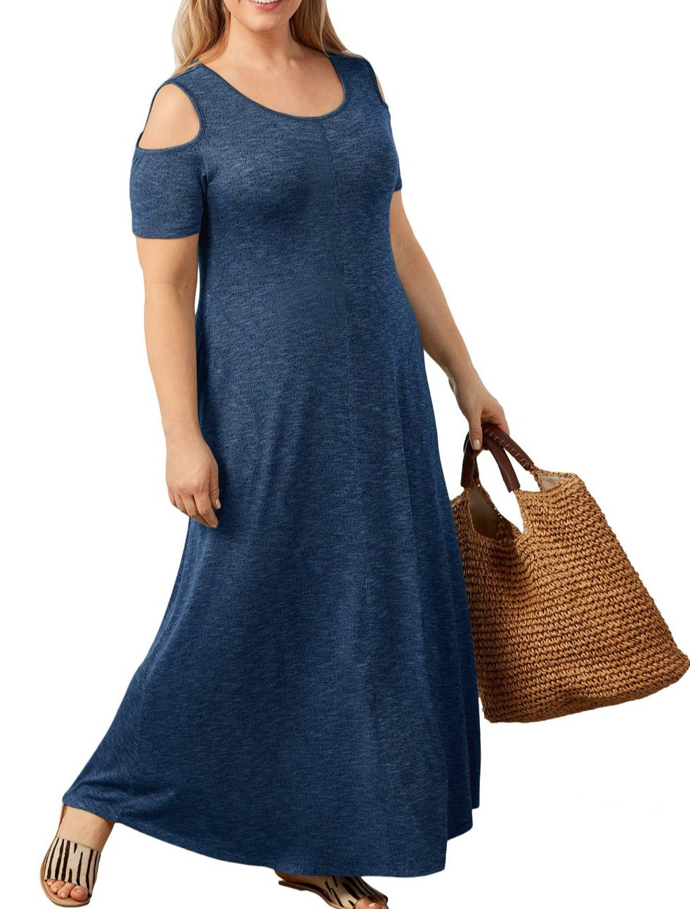 Indigo Cold Shoulder Pocket Style Maxi Dress