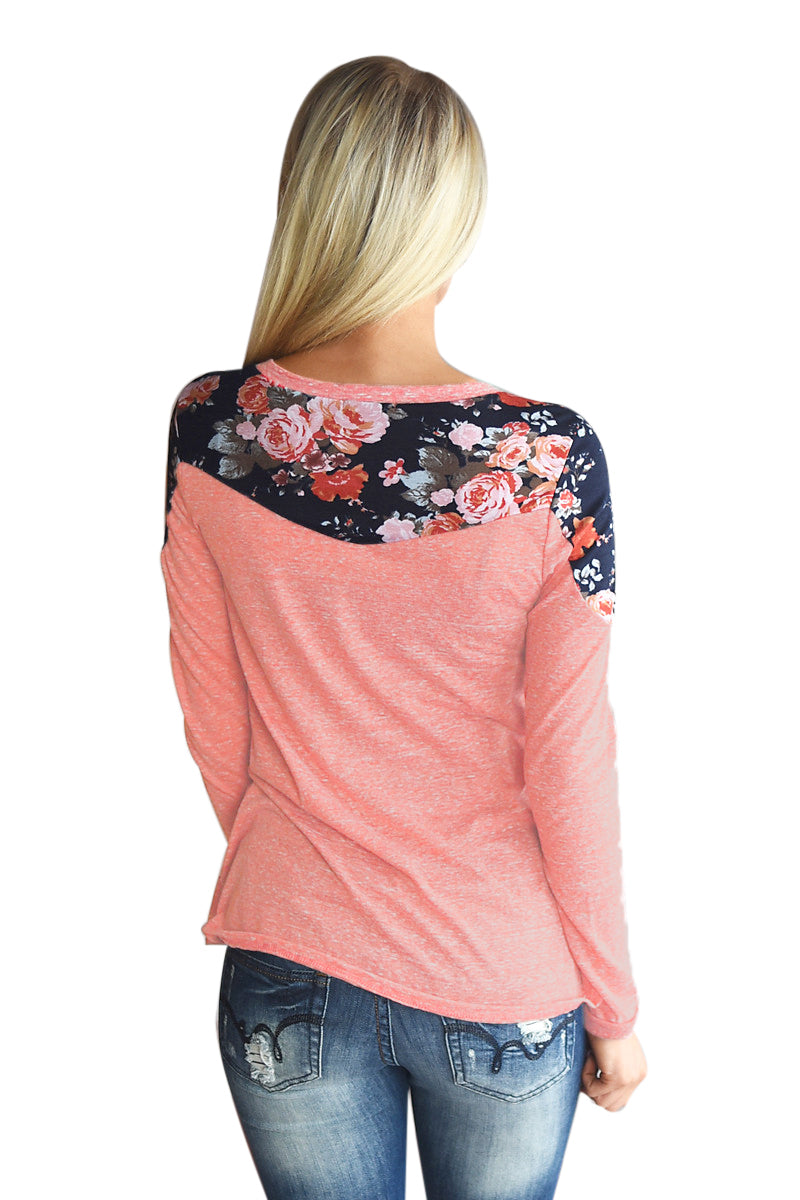 Floral Shoulder Patch Heathered Coral Top