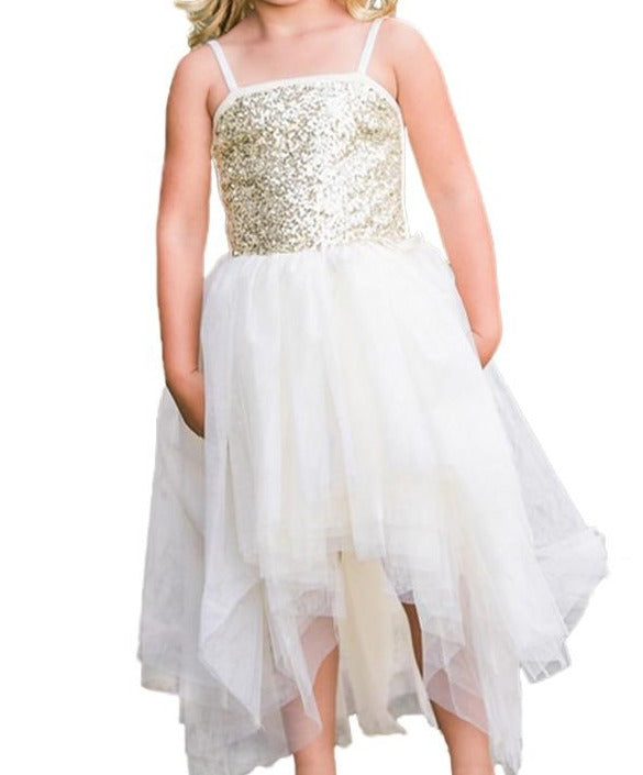 White Sequin Bodice Tulle Hi-low Dress